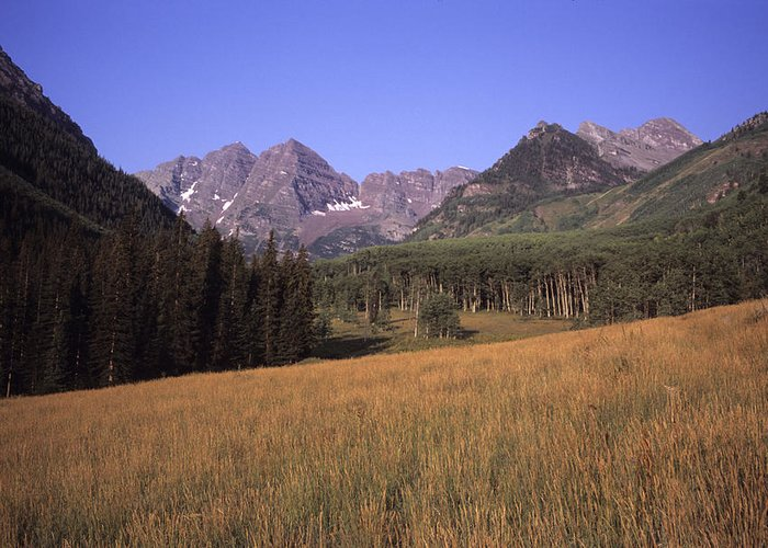 Mountains Greeting Card featuring the photograph A View Of The Maroon Bells Mountains by Taylor S. Kennedy
