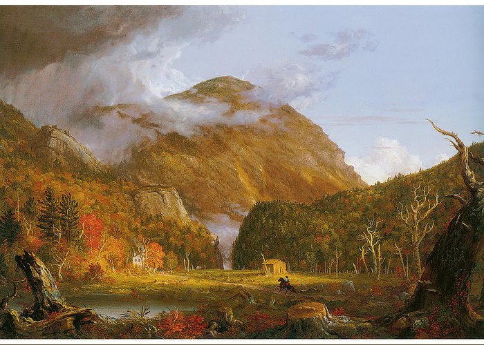 Thomas Cole Greeting Card featuring the painting A View Of The Mountain Pass Called The Notch Of The White Mountains by Thomas Cole