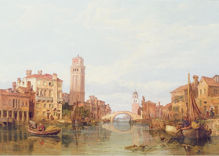 Veneto; Italy; River; Canal; Vessel; Townscape; Bridge; Tower; City Greeting Card featuring the painting A View Of Verona by George Clarkson Stanfield