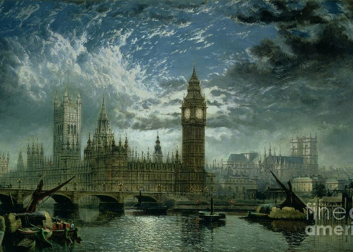 Big Ben;london;thames;river Greeting Card featuring the painting A View Of Westminster Abbey And The Houses Of Parliament by John MacVicar Anderson