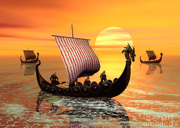 The Vikings Are Coming Greeting Card featuring the digital art The Vikings Are Coming by John Junek