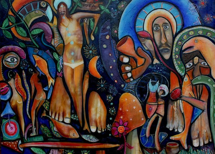 Vision Paintings Greeting Card featuring the painting A Vision Of Christ by Andrew Osta