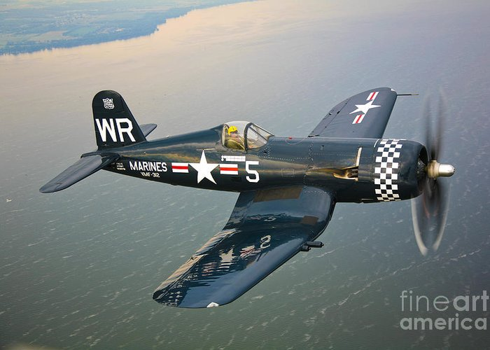Transportation Greeting Card featuring the photograph A Vought F4u-5 Corsair In Flight by Scott Germain
