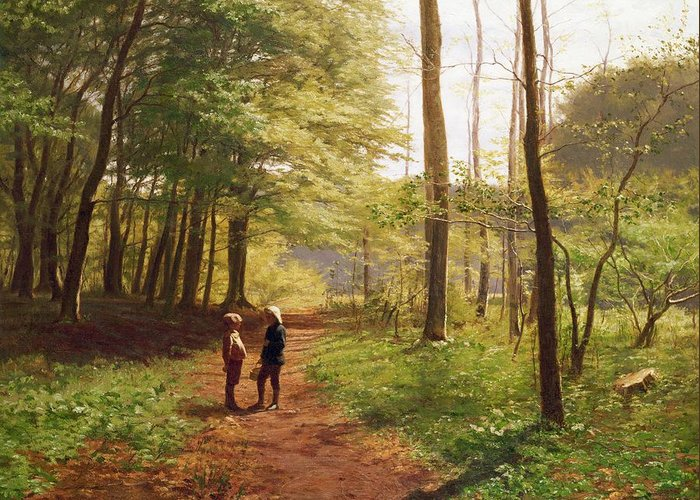 Walk Greeting Card featuring the painting A Walk In The Forest by Niels Christian Hansen