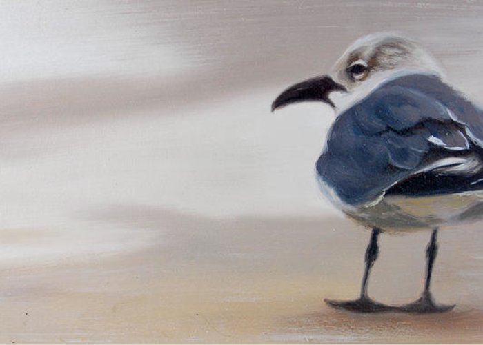Painting Greeting Card featuring the painting A Walk On The Beach by Greg Neal