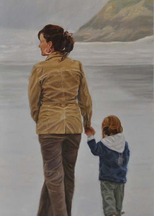 Landscape Greeting Card featuring the painting A Walk on the Beach by Tahirih Goffic