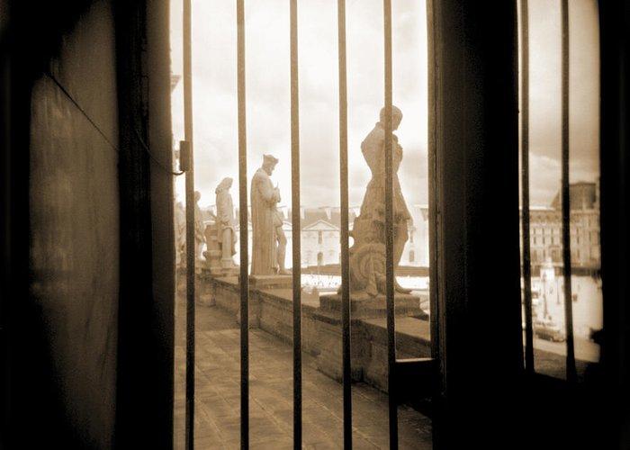 Black & White Greeting Card featuring the photograph A Walk Through Paris 9 by Mike McGlothlen