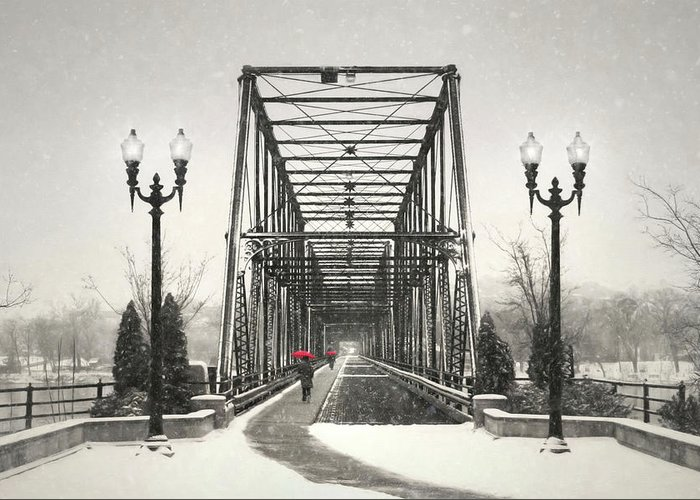 Bridge Greeting Card featuring the photograph A Walk Through Time by Lori Deiter