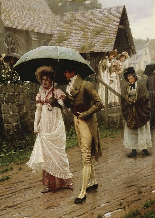 A Wet Sunday Morning Greeting Card featuring the painting A Wet Sunday Morning by Edmund Blair Leighton