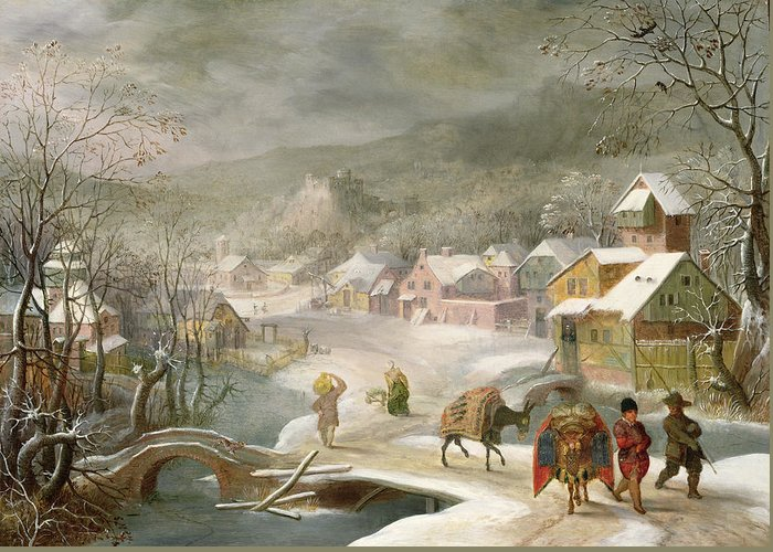 Winter Greeting Card featuring the painting A Winter Landscape With Travellers On A Path by Denys van Alsloot