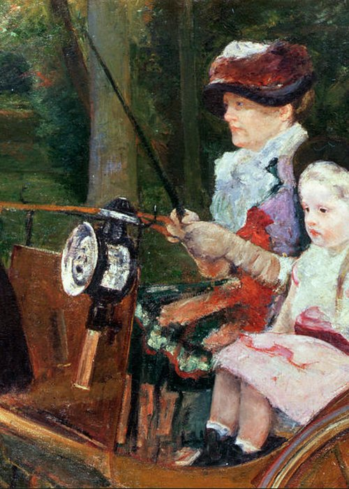 Woman Greeting Card featuring the painting A Woman And Child In The Driving Seat by Mary Stevenson Cassatt
