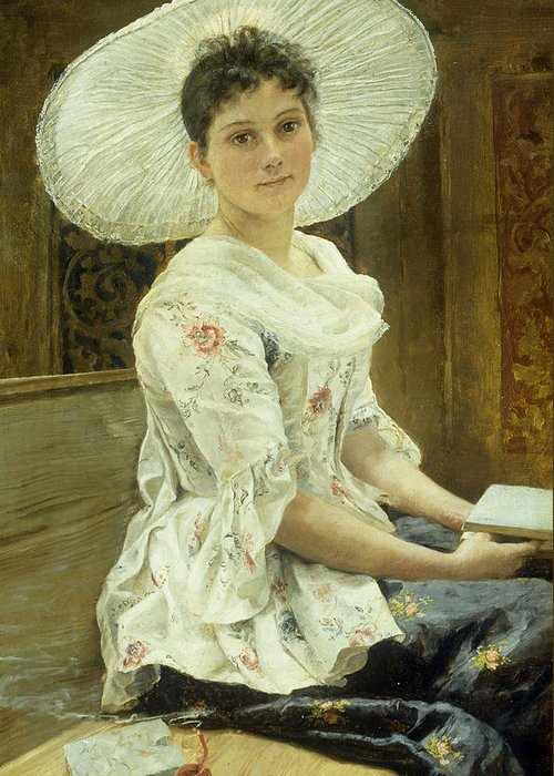Sat Greeting Card featuring the painting A Young Beauty In A White Hat by Franz Xaver Simm