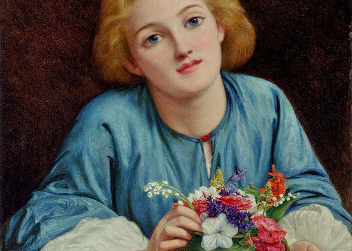 Henry Wallis - A Young Girl Arranging A Bouquet Greeting Card featuring the painting A Young Girl Arranging A Bouquet by MotionAge Designs