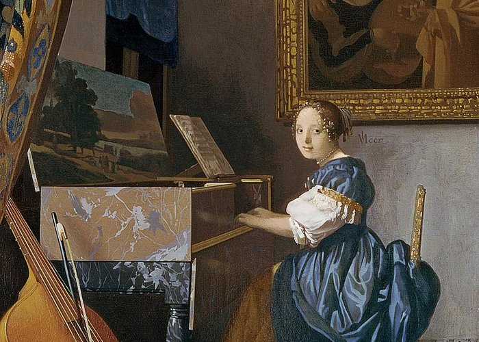 Young Greeting Card featuring the painting A Young Lady Seated At A Virginal by Jan Vermeer
