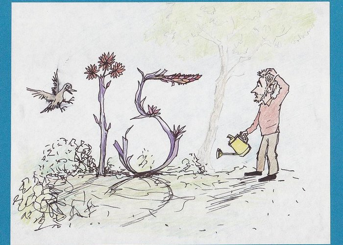 15 Greeting Card featuring the drawing Growing Curious At 15 by Charles Cater