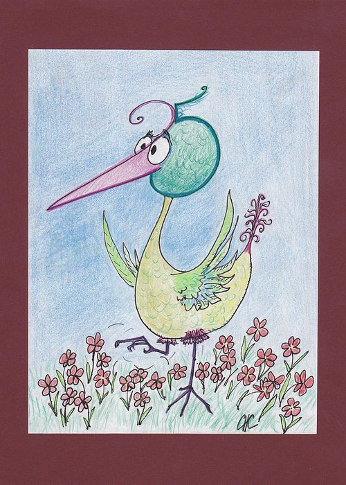 25 Greeting Card featuring the drawing Birdbrain by Charles Cater