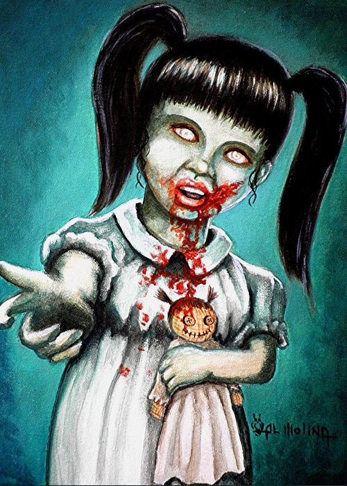 Zombie Greeting Card featuring the painting Aaarrgg Thats Zombie Talk For Mommy by Al Molina