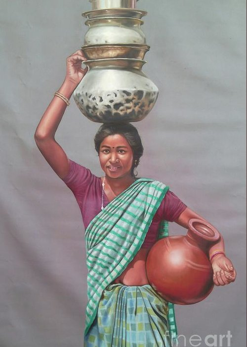 Figure Greeting Card featuring the painting Aadibasi by Gopal Sharma