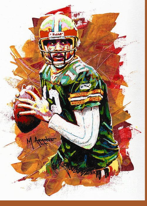 Aaron Greeting Card featuring the painting Aaron Rodgers by Maria Arango