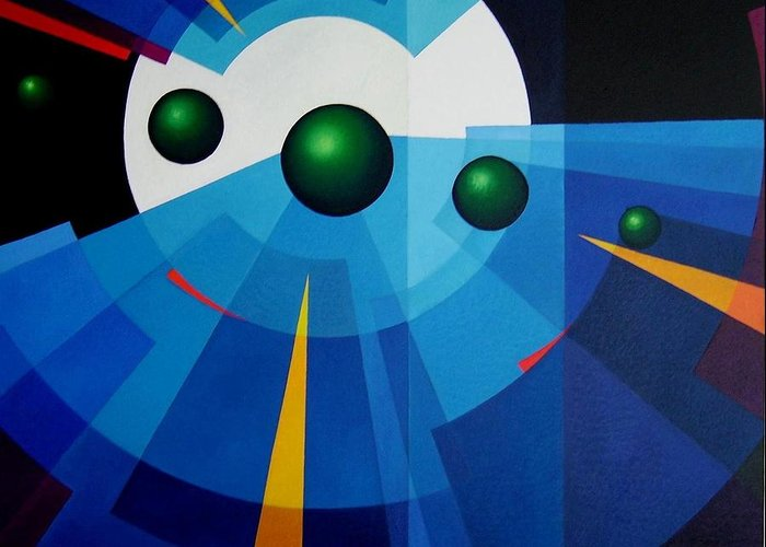 Geometric Abstract Greeting Card featuring the painting Ab Oculum by Alberto DAssumpcao