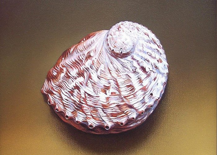 Shell Greeting Card featuring the painting Abalone Shell - B by Elena Kolotusha