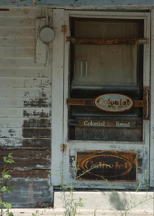 Old Greeting Card featuring the photograph Abandon Store Front by Jon Benson