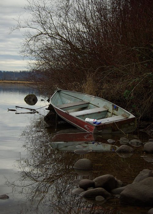 Abandoned Greeting Card featuring the photograph Abandoned Boat by Cindy Johnston
