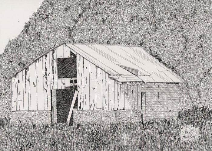 Pen And Ink Greeting Card featuring the drawing Abandoned Dairy-oklahoma by Pat Price