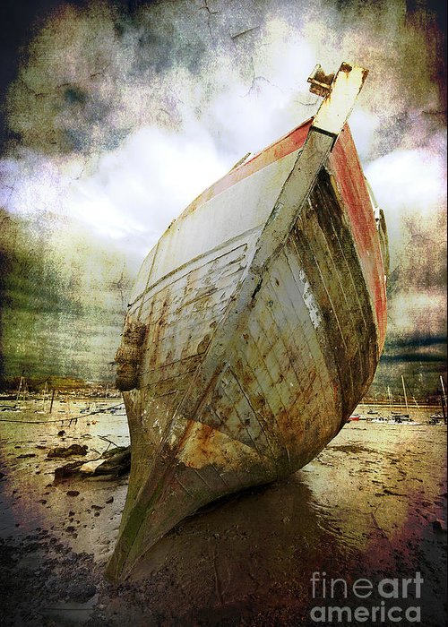 Greeting Card featuring the photograph Abandoned Fishing Boat by Meirion Matthias