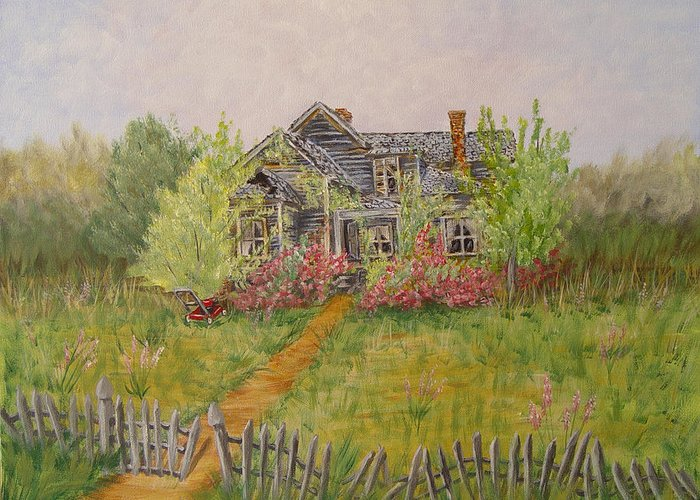 Landscape Greeting Card featuring the painting Abandoned House by Quwatha Valentine