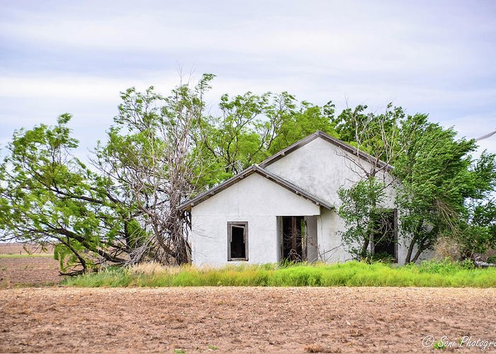 Semi Grass Covered Field Greeting Card featuring the photograph Abandoned House by Soni Macy