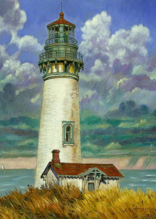 Lighthouse Greeting Card featuring the painting Abandoned Lighthouse by John Lautermilch