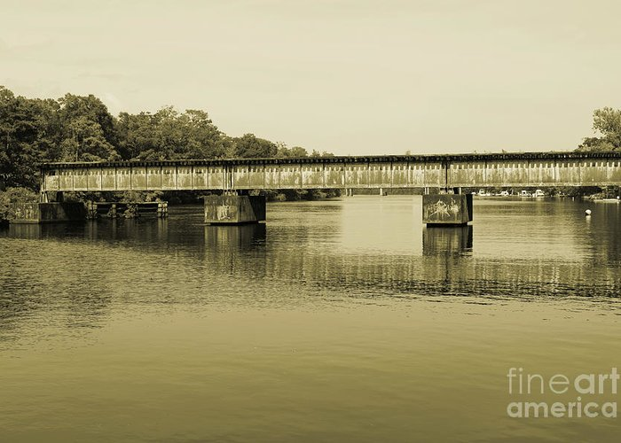 Train Greeting Card featuring the photograph Abandoned Train Trestle by Marc Watkins