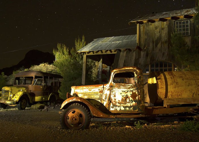 Abandoned Truck And School Bus In Ghost Town Greeting Card