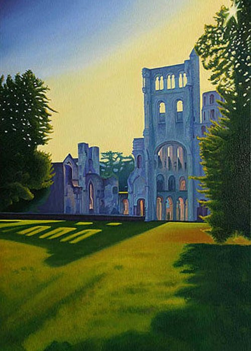 Landscape Greeting Card featuring the painting Abbey At Jumieges by Stephen Degan