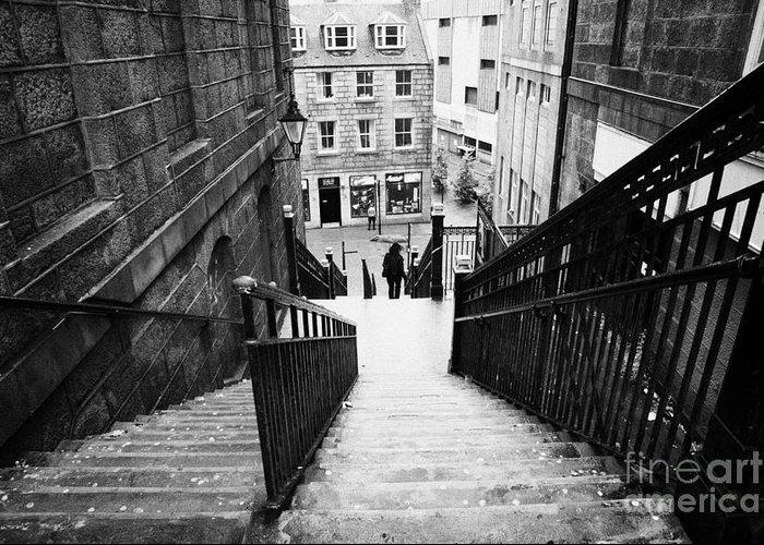 Aberdeen Greeting Card featuring the photograph Aberdeen Union Street Back Wynd Stairs Scotland Uk by Joe Fox