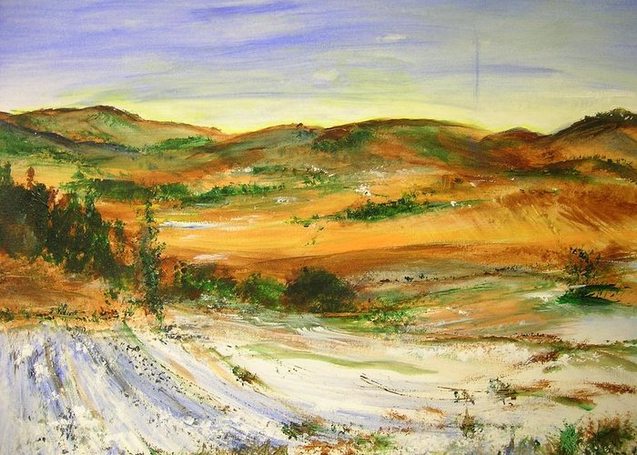 Landscape Greeting Card featuring the painting Aberdeen Winter Landscape by Lizzy Forrester