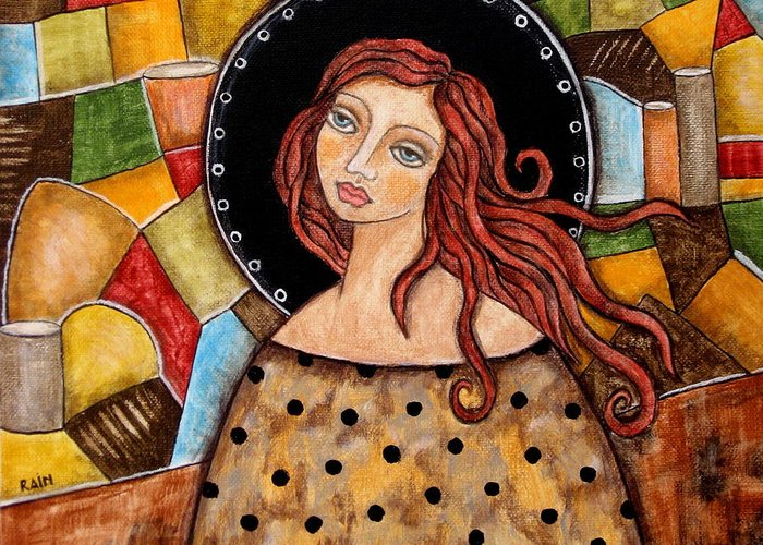 Greeting Card featuring the painting Abigail by Rain Ririn