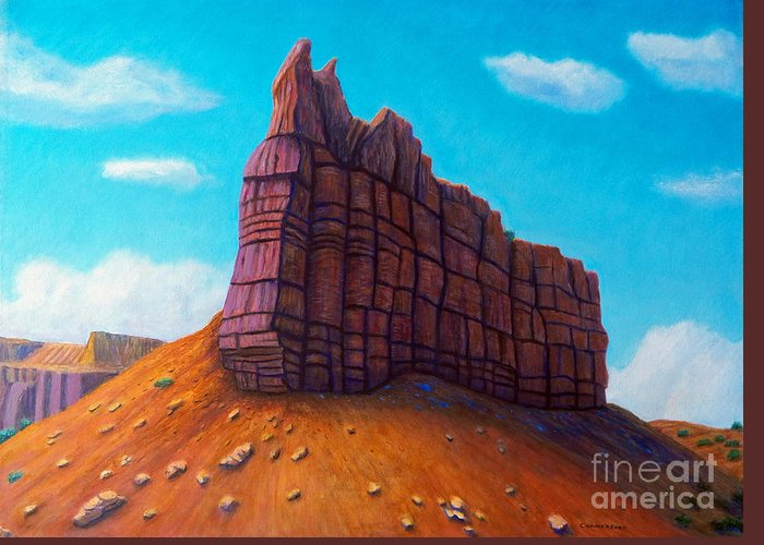 Mountain Greeting Card featuring the painting Abiquiu by Brian Commerford