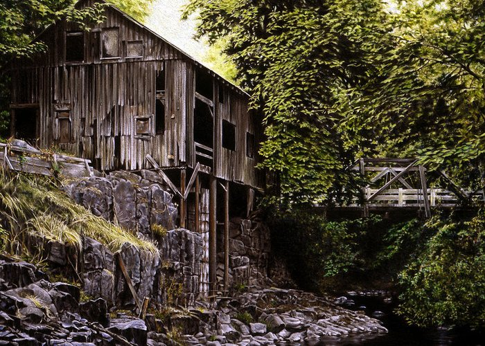 Old Grist Mill Greeting Card featuring the painting Above Cedar Creek by Craig Shillam