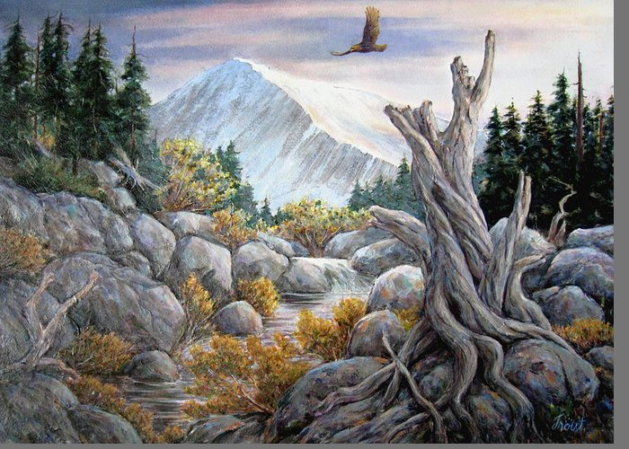 Golden Eagle Greeting Card featuring the painting Above it all by Don Trout