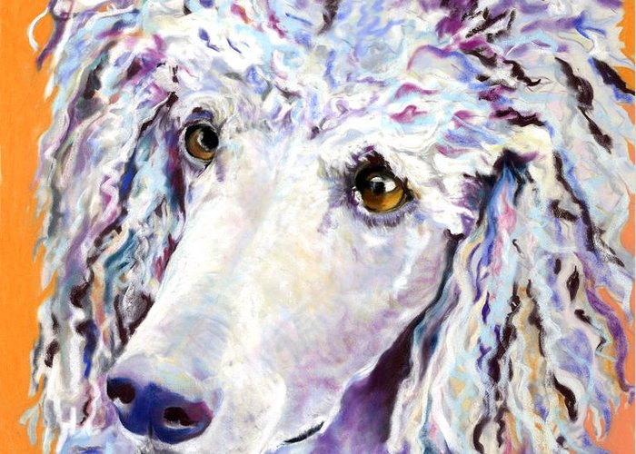 Standard Poodle Greeting Card featuring the pastel Above The Standard  by Pat Saunders-White