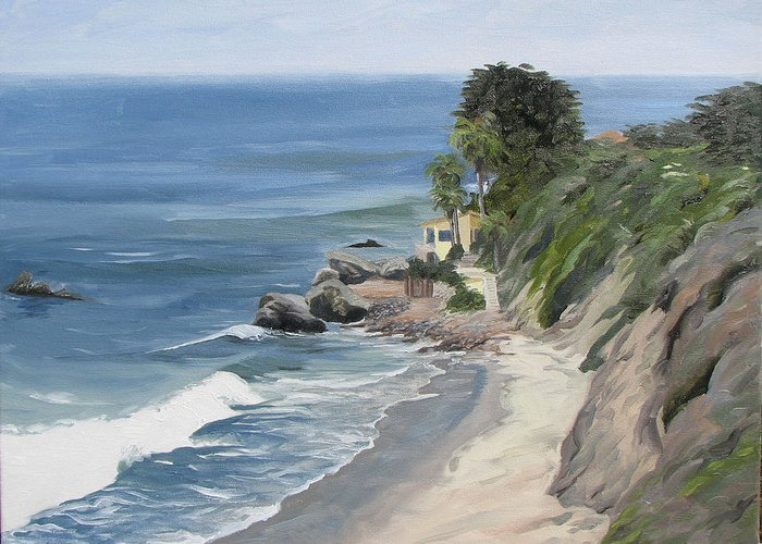 Seascape Greeting Card featuring the painting Above Zuma by Jay Johnson