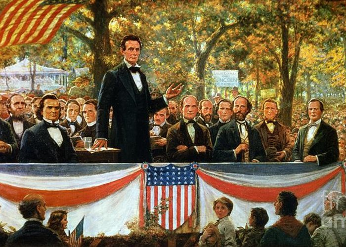 Abraham Greeting Card featuring the painting Abraham Lincoln And Stephen A Douglas Debating At Charleston by Robert Marshall Root