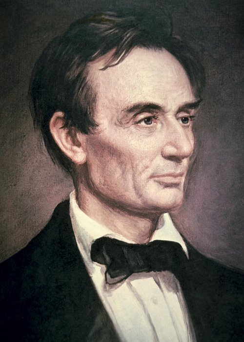 Male; Portrait; American; Statesman; Politician; Politics; Political Figure ;orator; Anti-slavery; Abolitionist; Us; Usa Greeting Card featuring the painting Abraham Lincoln by George Peter Alexander Healy