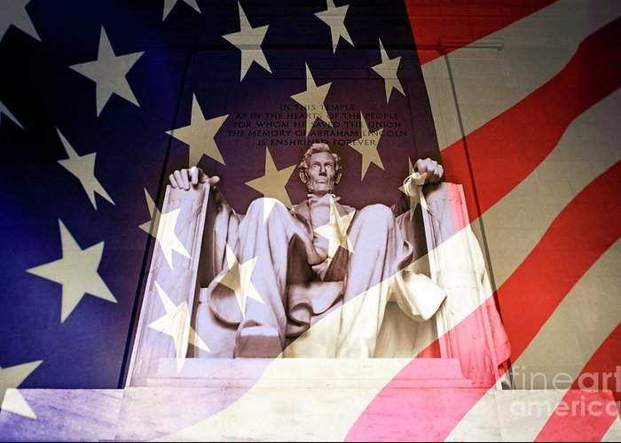 Authority Greeting Card featuring the photograph Abraham Lincoln Memorial Blended With American Flag by Sami Sarkis