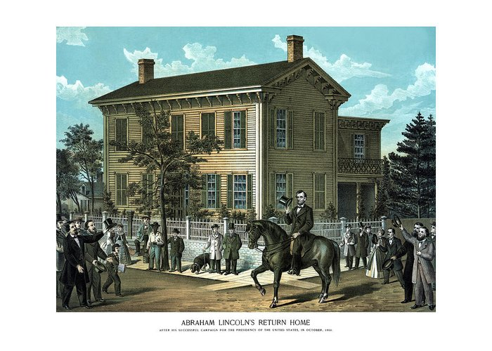 Abraham Lincoln Greeting Card featuring the painting Abraham Lincoln's Return Home by War Is Hell Store