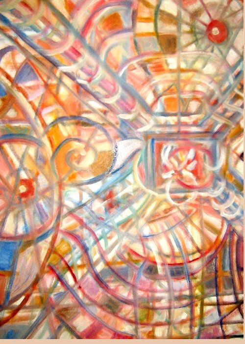 Abstract Multicolor Line Design Greeting Card featuring the painting Absct No Title by Joseph Sandora Jr