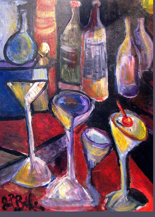 Still Life Greeting Card featuring the painting Absent One Whiskey by Jon Baldwin Art