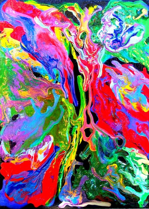 Abstract Greeting Card featuring the painting Abstract - Rebirth Series - Eva's Dream by Dina Sierra